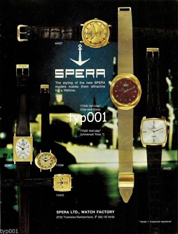 SPERA - 1968 - ATTRACTIVE STYLING WATCH VINTAGE PRINT AD