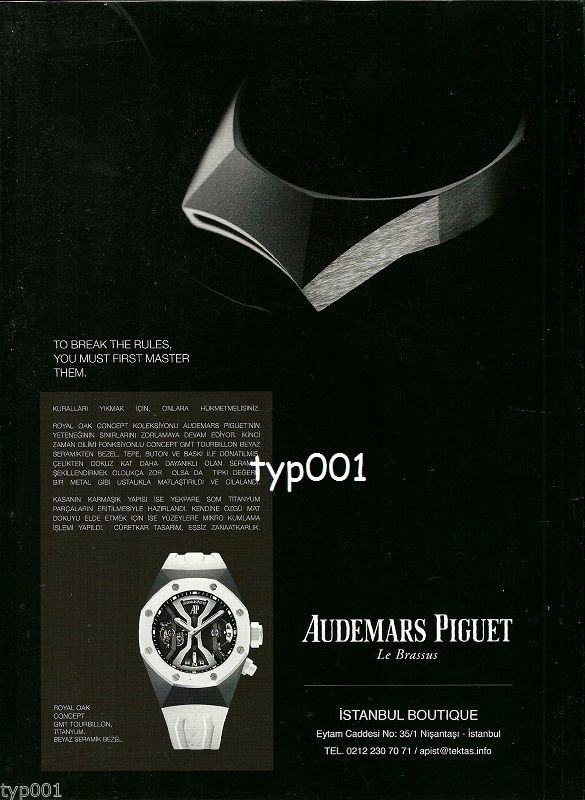 AUDEMARS PIGUET - 2014 - ROYAL OAK CONCEPT GMT TOURBILLON TURKISH  PRINT AD
