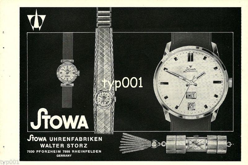 STOWA - 1968 - GERMAN WRISTWATCH PENDANT MODELS VINTAGE PRINT AD