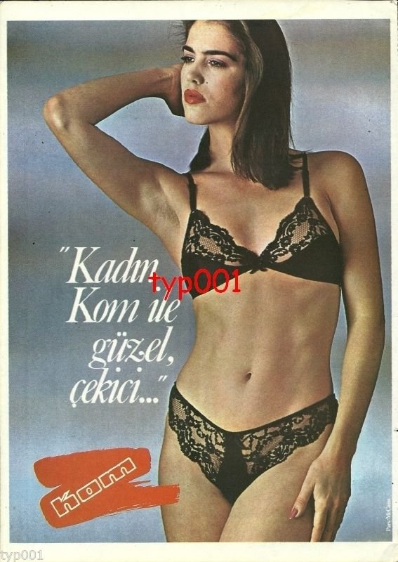 KOM - 1984 - GIRL IN SEXY BLACK LINGERIE LACE PANTY BRA TURKISH PRINT AD
