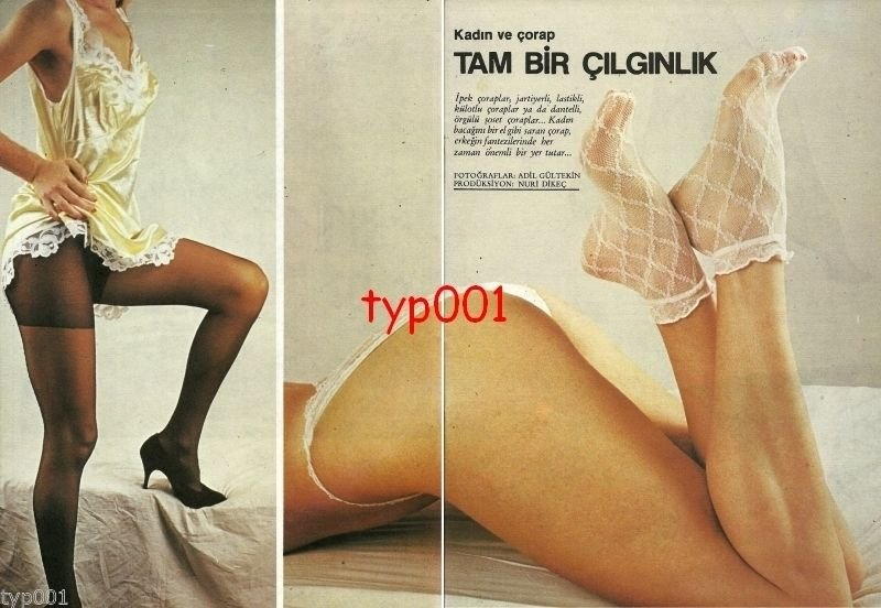 WOMEN & HOSIERY - 1985 - PANTYHOSE STOCKINGS 8 PAGE TURKISH PRINT EDITORIAL