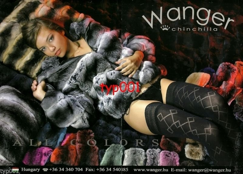 WANGER FURS - 2010 - SEXY LADY IN CHINCHILLA FUR COAT PANTIES HOSIERY PRINT AD