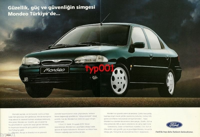 FORD - 1995 MONDEO SYMBOL OF BEAUTY POWER SAFETY IN TURKEY 3 PG TURKISH PRINT AD