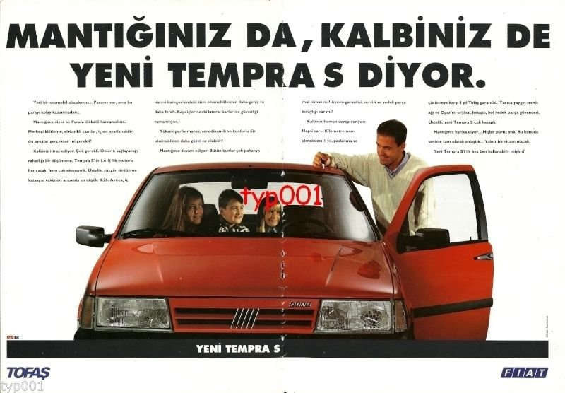 FIAT - 1993 YOUR LOGIC AND YOUR HEART SAYS TEMPRA S TURKISH PRINT AD