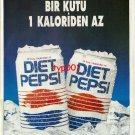 PEPSI COLA - 1992 - DIET PEPSI LESS THAN ONE CALORIE TURKISH PRINT AD