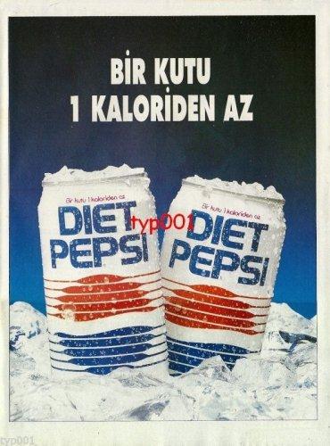 PEPSI COLA - 1992 - DIET PEPSI LESS THAN ONE CALORIE TURKISH PRINT AD
