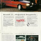 RENAULT - 1991 RENAULT 21 WITH  EXTRAORDINARY SENSATIONS TURKISH PRINT AD