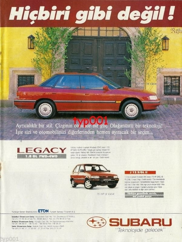 SUBARU - 1991 LEGACY NOT LIKE ANY OTHER CAR TURKISH PRINT AD