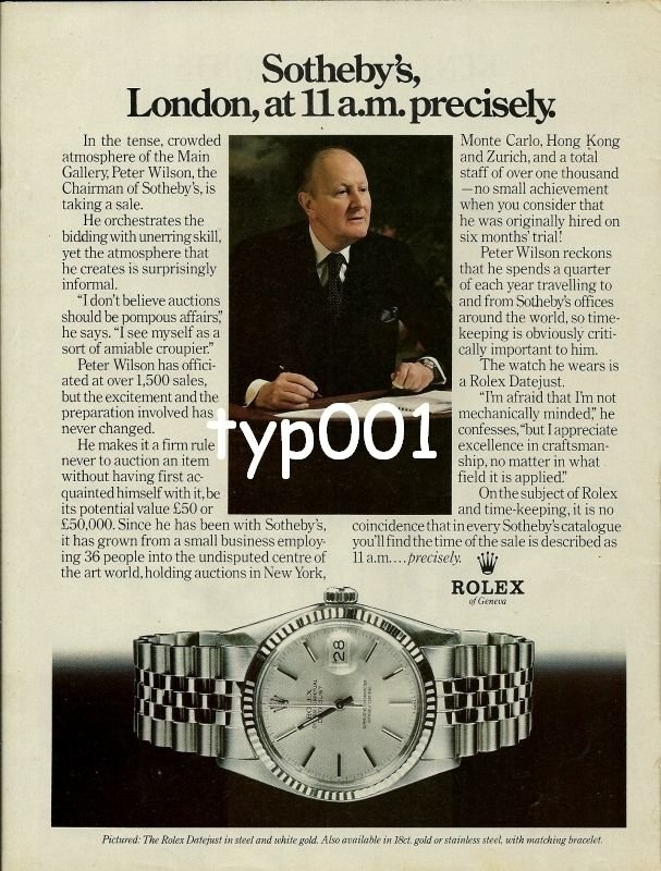 ROLEX - 1979 - SOTHEBY'S LONDON AT 11.00 A.M. PRECISELY PRINT AD