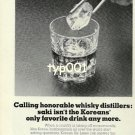 KOREAN AIRLINES - 1976 - CALLING HONORABLE WHISKY DISTILLERS PRINT AD