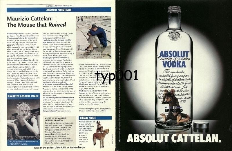 ABSOLUT - 1998 - ABSOLUT CATTELAN - MAURIZIO CATTELAN MOUSE THAT ROARED PRINT AD