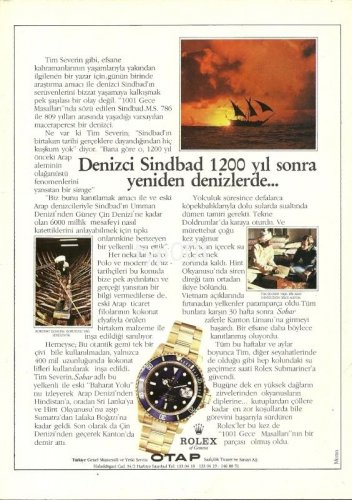 ROLEX - 1987 - SINBAD THE SAILOR BACK AT SEA 1200 YEARS LATER TURKISH PRINT AD