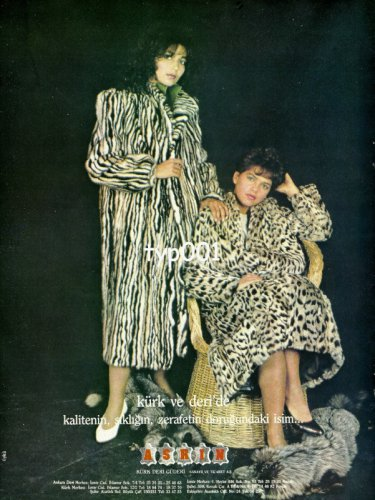 ASRIN FURS - 1987 - TWO LADIES IN FUR COATS RARE TURKISH PRINT AD