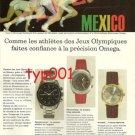 OMEGA - 1968 - MEXICO OLYMPICS FRENCH PRINT AD - ATHLETES TRUST OMEGA