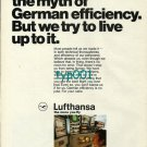LUFTHANSA - 1973 - WE DIDN'T CREATE THE MYTH OF GERMAN EFFICIENCY PRINT AD