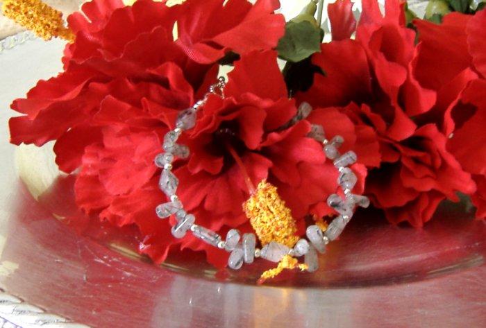 FREE SHIPPING Rutillated quartz beads bracelet