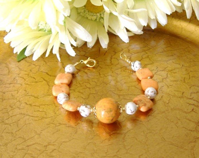 FREE SHIPPING White and orange turquoise stone bracelet