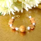 FREE SHIPPING White and orange turquoise stone bracelet