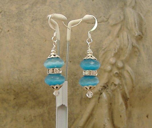 FREE SHIPPING Amazing blue cats eye earrings