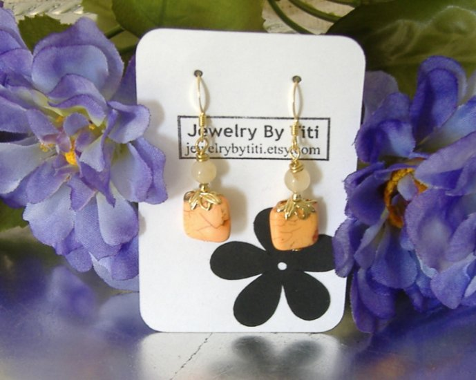 FREE SHIPPING orange dyed turquoise earrings