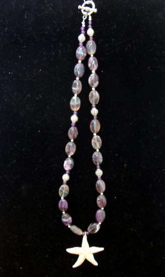 FREE SHIPPING Flourite and starfish pendant necklace