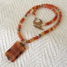 FREE SHIPPING Red agate pendant necklace with copper
