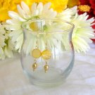 FREE SHIPPING yellow mother of pearl coin and gold fresh water pearl earrings