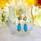 FREE SHIPPING Elegant fresh water pearl and turquois earrings