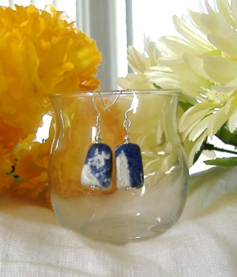FREE SHIPPING Gorgeous sodalite nugget earrings