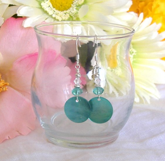 FREE SHIPPING Pretty aqua coin shell and beaded earrings
