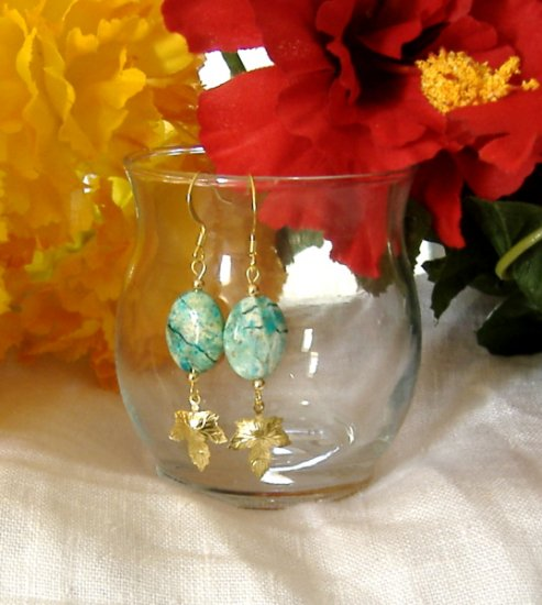 FREE SHIPPING Turquoise stone earrings with gold leaf
