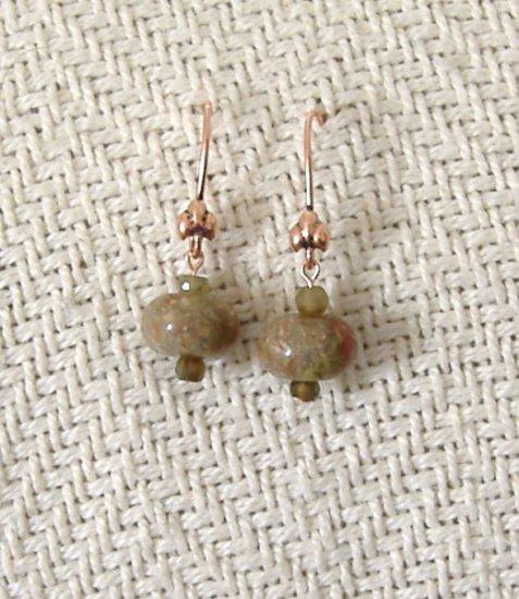 FREE SHIPPING Pretty Autumn jasper stone beads on copper earrings