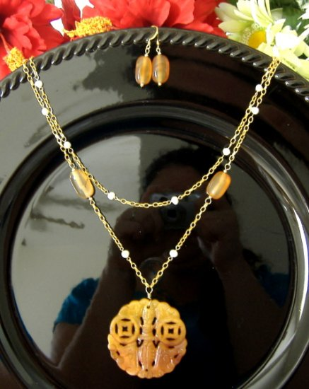 FREE SHIPPING Beautiful double strand chain necklace fresh water pearls red agate chinese symbol