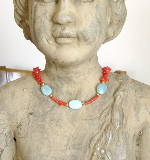FREE SHIPPING Gorgeous red coral and amazonite necklace MUST SEE
