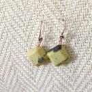 FREE SHIPPING Yellow turquoise puffy diamond shaped copper earrings vegetarian turquiose