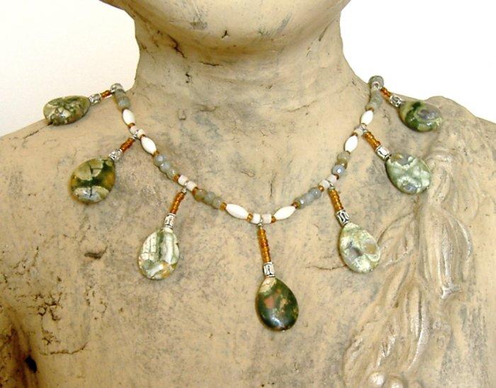 FREE SHIPPING Rhyolite and greenish labradorite teardrop necklace