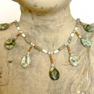 FREE SHIPPING Rhyolite and greenish labradorite teardrop necklace