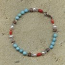 FREE SHIPPING Turquoise red coral fresh water pearl and copper bracelet
