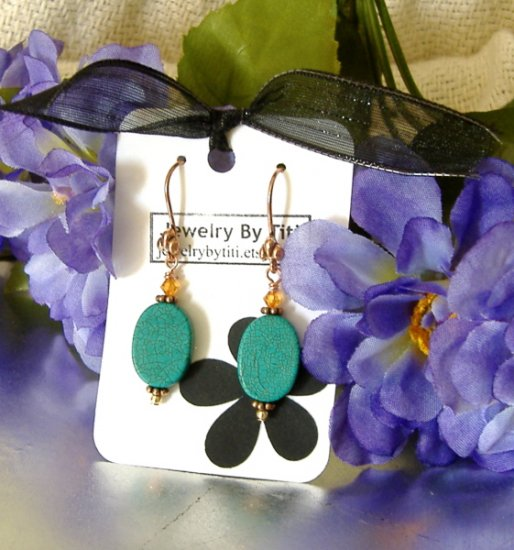 FREE SHIPPING Copper and turquoise earrings