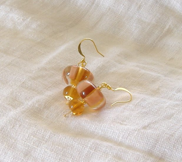 FREE SHIPPING Lampwork glass beads earrings in peach and cream color
