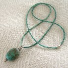 FREE SHIPPING Beautiful turquoise pendant necklace with turquoise beaded chain