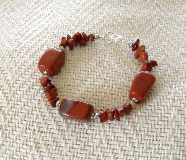 FREE SHIPPING Absolutely Gorgeous RED Jasper stone bracelet