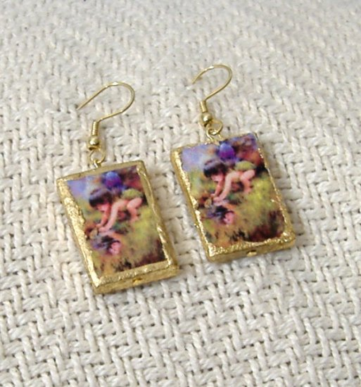 FREE SHIPPING Little fairy boy catches frog earrings Real Cute