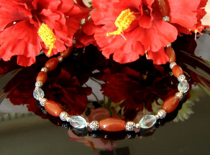 FREE SHIPPING Gorgeous red agate and aqua blue crystals necklace Must See