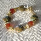 FREE SHIPPING Very pretty Rhyolite and red agate bracelet