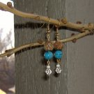 FREE SHIPPING wood and turquiose howlite earrings Nice natural look