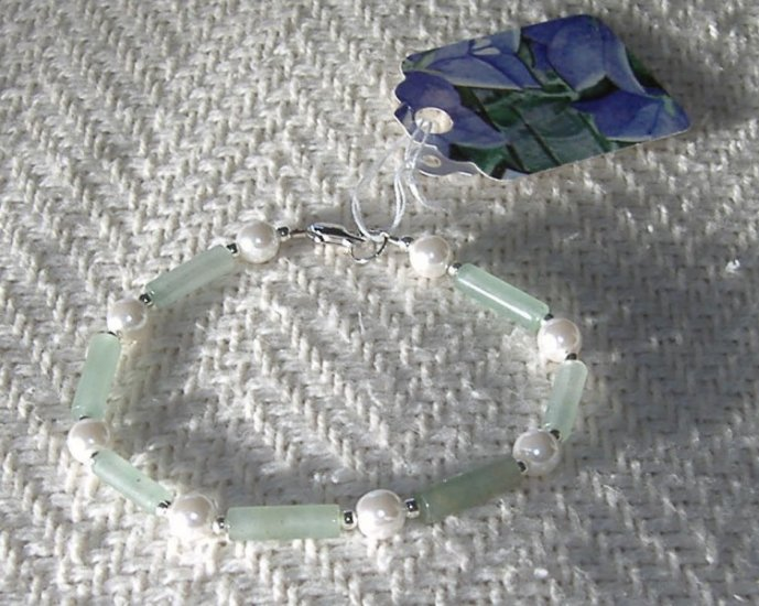 FREE SHIPPING Very pretty green aventurine and pearl bracelet
