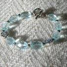 FREE SHIPPING Gorgeous aquamarine glass beads and silver bracelet