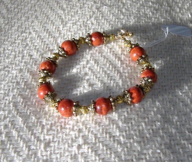 FREE SHIPPING Red Coral and gold bracelet Just Beautiful