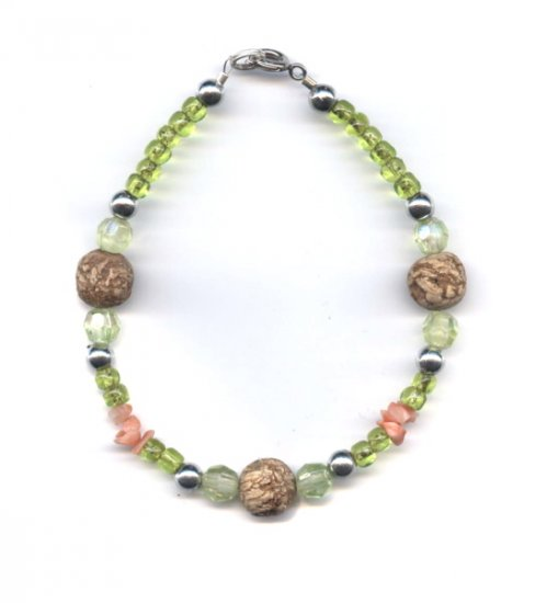 FREE SHIPPING Joy of life bracelet fun funky light greens and wood beads